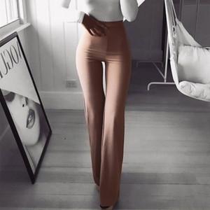 Atractivo de las mujeres de cintura alta pantalones largos de las mujeres de negocios sólido Palazzo pierna ancha pantalones Mujeres Pantalones Harem