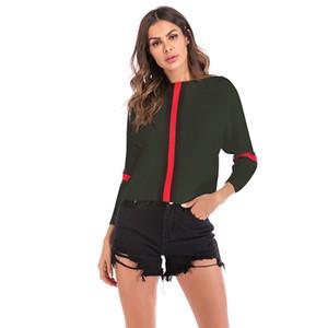 Beliebte Damenbekleidung Bat-Hülse Streifen passender Farbe Knitwear Ein Wort Kragen-Kurzschluss-Mantel