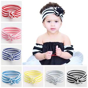 8 Colors Cute Baby Striped Knot Headband Girls Headwraps Turban Headbands Infant Bandanas Hairband Phtography Props Party Favor DA443
