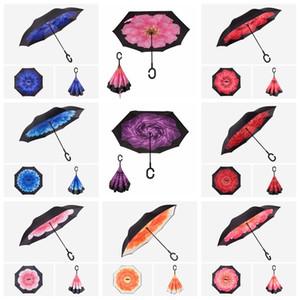 Inversa à prova de vento Umbrella criativa Inverted-chuvas com C Handle Double Layer Inside Out everted Parachute Umbrella 150 estilo LXL1196-3Q