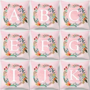 26 lettres anglaises motif jet taie d'oreiller pêche peau guirlande impression numérique canapé housse de coussin carrée taie d'oreiller fit décorations pour la maison 4