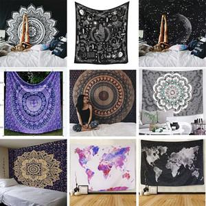 95x73cm India Mandala Tapestry Wall Hanging Cloth parete Boho Decor Arazzi Psychedelic Hippie Luna di notte Arazzo Mandala Wall Carpet