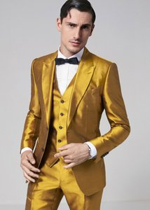 Classic Fashion Design Gold 3 Pieces Men's Suit Formal Skinny Step Suit Blazer Shiny Custom 3 Pieces Jacket Trousers Vest