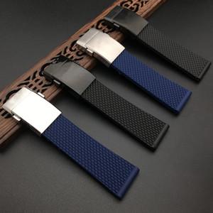 Qualità superiore di marca nero blu morbida gomma di silicone cinturino per Navitimer / vendicatore / Breitling cinghia 24 millimetri del cinturino Bracciale
