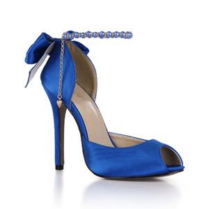 Royal Blue атласная Женская обувь для венчания высокой пятки скользят по Заостренный Toe насосы бабочки УЗЕЛ Люкс пяток Женская обувь