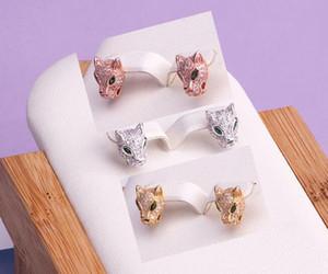 Vendita calda Fashion Lady Ottone Oro 18 carati Diamante pieno Occhi verdi Testa di leopardo Fidanzamento Matrimonio Argento 925 Orecchini a perno in argento 3 colori