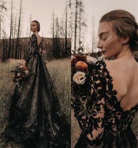Gothic Full Black Long Abiti da sposa Abiti da sposa Una linea maniche lunghe V Collo del Collo Corte Treno Vintage Abiti da sposa 2021 Plus Size Wedding Wear Wear