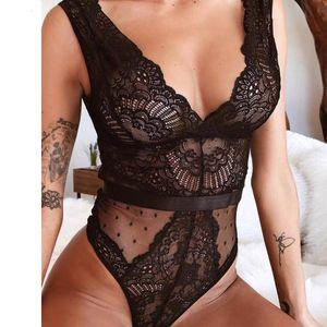 Summer Body en dentelle florale Femmes Broderie col en V profond Sexy Dot Patchwork Bodysuit Jumpsuit Salopette Femlae Body