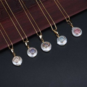 wholesale tiny cz round disc disk charm natural freshwater pearl bead gold link chain pendant choker necklaces for women