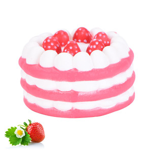Pu simulation strawberry cake squishy slow rebound cake soft decorative ornaments vent squeeze toy