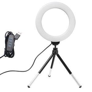 6inch Mini LED Desktop Light Ring Плавное Затемнение с треногой USB Plug для YouTube Video Live Photo Фото