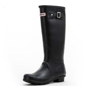 Venta caliente- Rainboots Fashion Knee-High Alto Rain Boots Inglaterra Estilo impermeable Botas de goma Rainboots de goma Zapatos de agua RainShoes
