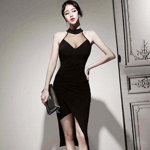 2020 İlkbahar Kore Yeni Seksi Backless elbise Mesh Patchwork Kolsuz Kılıf Siyah Midi BODYCON Düzensiz Seksi Kulübü Partisi vestidos