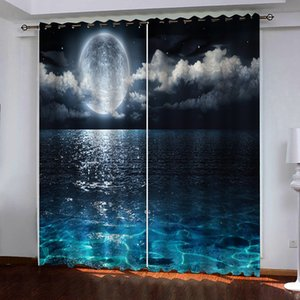 Custom blue lake curtains moon curtain Window Blackout Luxury 3D Curtains set For Bed room Living room