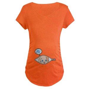 Women's Maternity Baby in Pocket Print maternidad de algod n bragas embarazo ropa Top Tee T-shirt Pregnancy Clothes #SS