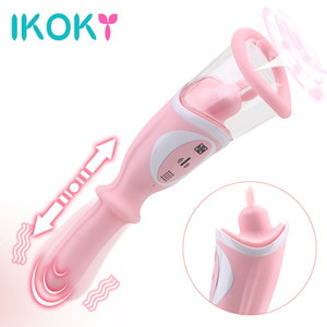 IKOKY Nipple Clitoris Sucking Vibrators Thrusting Dildo Vibrator Breast Vacuum Pump Pussy Tongue Licking Sex Toys for Women Y200616