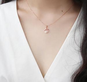 Colgante, collar de DHL creativo de la manera flores de mariposa collar de perlas de cristal de circón nw Shell Garland para la Mujer longitud joyería 45 cm