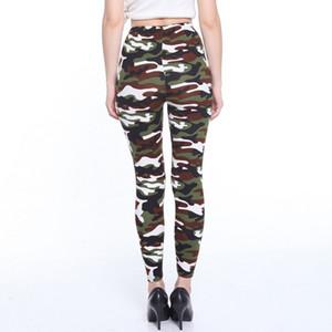 Yüksek Kalite Moda İlkbahar Sonbahar Kadınlar Tozluklar Elastik Yüksek Bel Kamuflaj Baskı Pantolon Zayıflama Günlük Pantolon