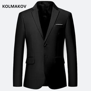 KOLMAKOV Nueva moda Blazers para hombre Chaquetas slim fit Abrigos Hombres Vestido de estilo vintage Color puro Blazer para hombre Talla grande M-6XL