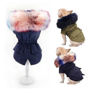 Hiver chaud vêtements pour chiens de luxe en fourrure Manteau pour chien Sweats à capuche pour chien Petit Moyen coupe-vent Vêtements pour animaux domestiques doublure molletonnée Veste de chiot