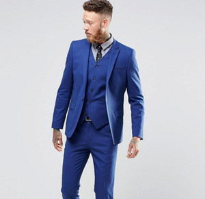Classy doux réel Blue Man couleur Tuxedo Costumes image Handsome costumes de marié Un Slim Fit Button Costume de mariage pour les hommes (veste + pantalon + Gilet)
