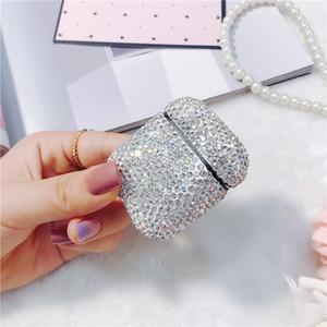 Designer AirPod Housse de protection luxe Flash Diamond Oreillette Bluetooth couverture pour la génération d'Apple 1/2 Mode Boîte de rangement 7COULEURS gros