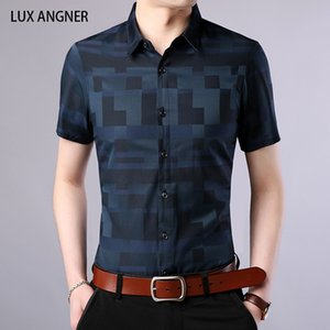 LUX ANGNER 2020 Yaz Kısa Gömlek Erkekler İş Casual Ekose Gömlek Slim Fit Pamuklu Gömlek Erkek Elbise Kore Giyim
