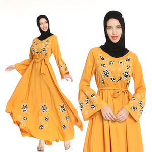 Women Dresses Princess Muslim Big Swing Long Skirt Party Wear Costume Embroidered flared sleeve dress vintage A-line slim skirt travel robe
