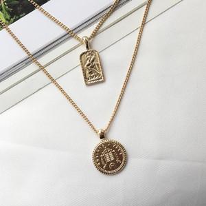Punk Gold Runde Münze Anhänger Lange Ketten Kette für Frauen Mann Einfache Porträt Halskette Hip Hop Halskette