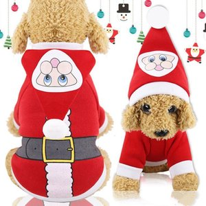 Noël Toutous Cute Cartoon Chiens Cat Manteaux d'hiver en peluche Costumes Père Noël Printted Vêtements Manteaux de Noël Pet Costume Décoration LXL738Q