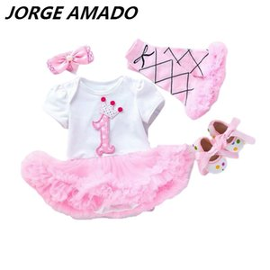 Wholesale Baby Girl Dresses Fluffy Tulle Dress for First Birthday Dress+Shoes+Headband+Socks 4pcs Suit Kid Clothes 0-2T YK006