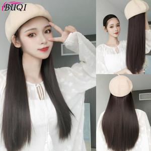 Buqi longue perruque perruque brune chapeau noir droit ondulé et chapeau tête pleine de cheveux synthétiques femme naturellement connecté