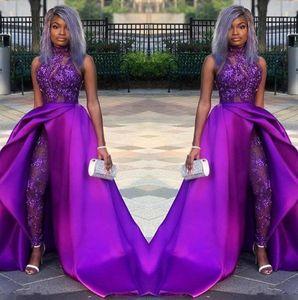 2020 Пром Комбинезоны Платье с Съемными Поезд High Neck Lace аппликация вечерних платьев Африканской партия Женщина брючного костюмом BC2479