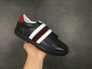 B07 Küçük arı Ayakkabı siyah Yeni Web İşlemeli Erkekler Kadınlar ACE Gerçek Deri Tasarımcı Sneakers Beyaz İyi Moda Günlük Ayakkabılar