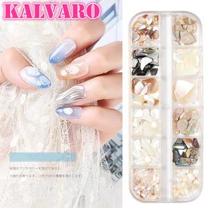 1 Box 3D Abalone Shell Irregular+Alloy Nail Art Decorations UV Gel Flake Slider Nails Jewelry Manicure AccessoriesTips Manicure