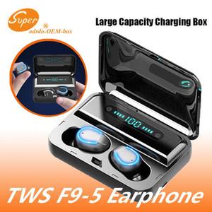 F9-5 TWS беспроводные наушники цифровой светодиодный дисплей Bluetooth V5. 0 наушники Bluetooth наушники с 2000mAh Power Bank гарнитура DHL корабль