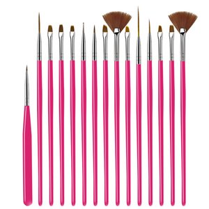Nail Brush For Manicure Gel Nail Art 15Pcs Set Ombre Brush For Gradient For Gel Nail Polish Painting Drawing 4 colors