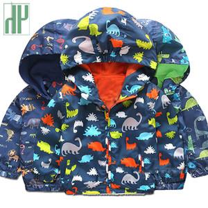 키즈 자켓 Cartoon Dinosaur 프린트 재킷 소년 소년 소녀 용 Outwear Jacket children 후드 형 방풍 비옷 스포츠 용 재킷