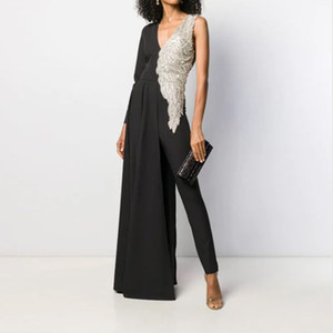 2019 European and American Foreign Trade New Womens Dress Hot Sexy Deep V Slim Jumpsuit