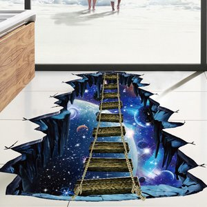 Venta caliente 3D Universo Creativo Planet Bridge Extraíble Pegatinas de Pared Arte Vintage Home Decor Floor Wallpaper Mural