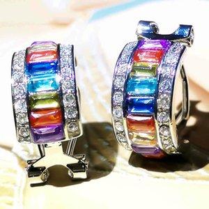 Moda Kulak Manşet Glitter Renkli Dikdörtgen Sahte Gem Rhinestone Lady Kulak Manşet Küpe Yeni'ye Küpe Klip Clip