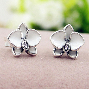 NOUVEAU blanc émail fleurs Stud boucle d'oreille boîte d'origine ensemble bijoux pour Pandora 925 boucles d'oreilles en argent Sterling pour les femmes filles en gros