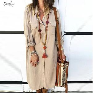 Buttoned Sundress Female Solid Color Lwomens Dresses Ong Sleeved Shirt Pocket Dress Vestido Elbise Robe G7 Drop Shipping