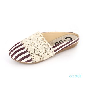 Mules Shoes 2019 Women Summer Slippers Casual Lace Slides Woman Round Toe Gingham Flat Sandals Ladies Female Shoes ct1
