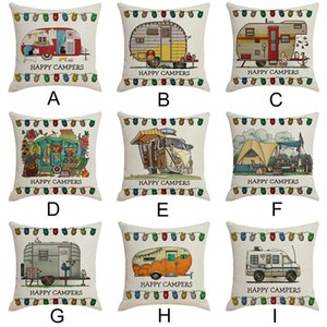 Cushion Cover Happy Camper Picnic Car Text Decoration Linen Pillowcases Household Pillow Cover Kussenhoes Cojines Pillow Case