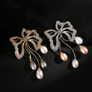 Zircon Bow Pearl Brooches Pins For Women New Korea Fashion Wedding Corsage Jewelry Gold Plated Suit Brooch Silk Scarf Buckle