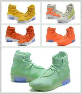 2020 Men Fear of God 1 Frosted Spruce Orange Pulse Yellow Basketball Shoes hottest FOG 1 men Designer Sports Sneakers with box