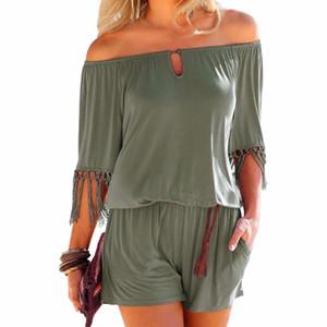 Mujeres trajes de verano Slash cuello borla hembra playa Boho mono corto mono de niñas bolsillos mamelucos más el tamaño Gv923 Y190502