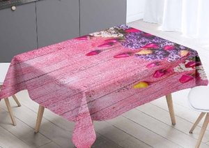 Else Pink Trees Flower Leaf Wood 3d Tablecloth Pattern Washable Dustproof Thicken Cotton Cloth Rectangular Square Table Cloth