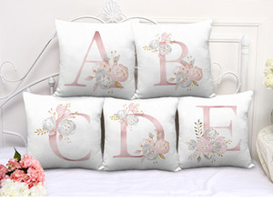 26 alphabet floral print soft throw pillow case waist cushion cover wedding home decor wholesale DHL fast shipping free